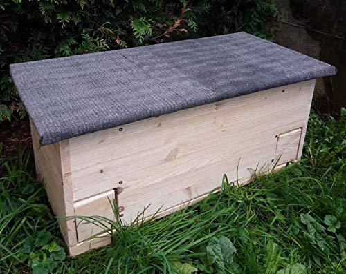Kees Holzprodukte Igelfutterstation Igelhaus mit Rattenklappe, Dachpappe und Boden XXL