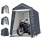 TOOCA 6x8x7 Ft Portable Garage Tent Kit Portable Shed, Outdoor Carport Canopy Storage Shelter with Detachable Roll-up Zipper Door for Motorcycle Gardening Vehicle Storage, Gray