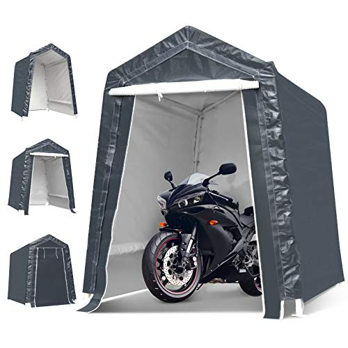6x8x7 Ft Portable Garage Tent Kit Outdoor Carport Canopy Storage Shelter Shed with Detachable Roll-up Zipper Door for Motorcycle Gardening Vehicle Storage, Ultimate Gray