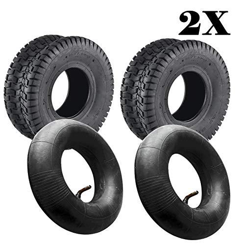 JUEYAN 2 Stück Rasen Rasenmäher Reifen 15 x 6.00-6 TL 2PR Reifen für Rasentraktor Aufsitzmäher Rasenmäherreifen inkl. Schlauch