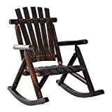 Outsunny Outdoor Rustic Adirondack Rocking Chair, Fir Wood Log Slatted Design Patio Rocker for Porch Garden Lounging