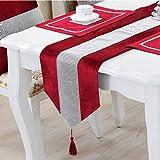 DELIBEST - Camino de mesa con estilo, camino de mesa simple y moderno, lujoso, seda sintética, Rojo, 12.6*70.9''(32*180cm)