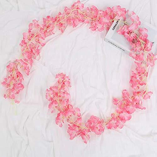 BlueXP 2 Pieza 180cm Guirnalda de Flores Artificial Flor Seda Artificiales Colgante Vines Guirnaldas de Hermoso Flores de...