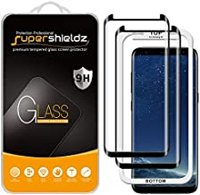 (2 Pack) Supershieldz for Samsung Galaxy S8 Tempered Glass Screen Protector with (Easy Installation Tray) Anti Scratch, Bubble Free (Black)
