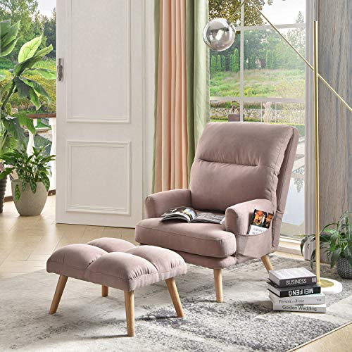 ovios Recliner Chair with Ottoman, Linen wingback Chair, Mid Century Reading Chair for Living Room,Adjustable Accent Chair,Sleeper,Lounge,Office (Pink)