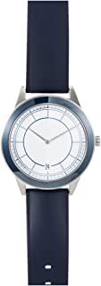 351 Series Mens Stainless Steel Blue Leather Strap Band White Dial Silver Watch