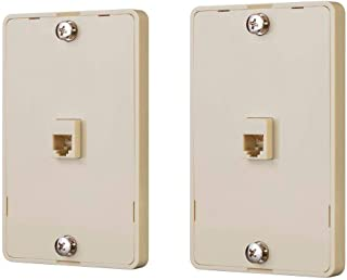 Monoprice Phone Jack Wall Plate - Ivory (2 Pack) | Terminating 4-Conductor (4P4C) Phone Lines