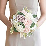 Ling's moment 9 Inch Blush Artificial Flowers Wedding Bouquets for Bride - Tossing Bouquet - Bridal Bouquet for Wedding Ceremony Anniversary, Bridal Shower, Party and French Rustic Vintage Wedding