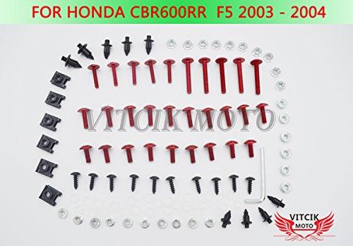 VITCIK Kit Completo de Tornillos y Pernos de Carenado para CBR 600 RR F5 2003 2004 CBR 600 RR F5 03 04 Clips de Sujeción en Aluminio CNC de La Motocicleta (Rojo & Plata)