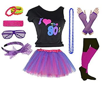 Girls I Love The 80 s Disco T-Shirt for 1980s Theme Party Outfit  14-16 Years Purple2