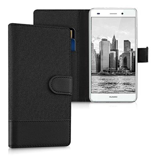 kwmobile Wallet Hülle kompatibel mit Huawei P8 Lite (2015) - Hülle mit Ständer - Handyhülle Kartenfächer Anthrazit Schwarz