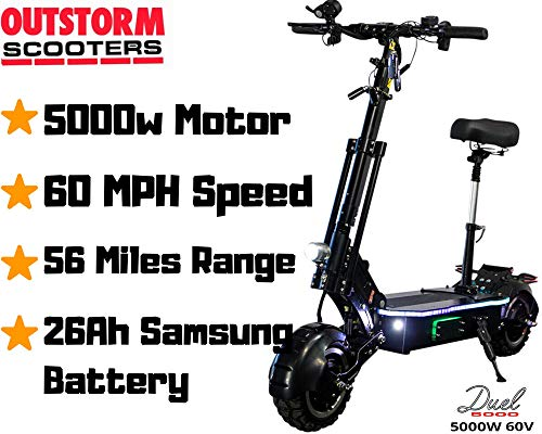 OUTSTORM 68MPH High Speed Electric Scooter for Adults Foldable, 5000W Peak Power Dual Motor 60V/ 26-38.5Ah Battery, 56-83 Miles Range, 30° Grade