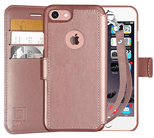 LUPA iPhone 8 Wallet Case, Durable and Slim, Lightweight with Classic Design & Ultra-Strong Magnetic Closure, Faux Leather, 8 Wristlet Rose Gold, Apple 8 (2017)
