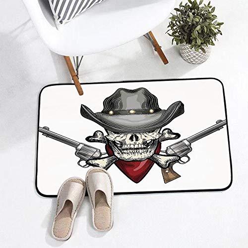 Badematte 75 x 45cm rutschfest-BadvorlegeSchädel, Illustration eines coolen Schädel-Cowboys mit Hut und Gewehren Wild West Symbol im R Weich Wasserabsorbierende Badematten,Mikrofaser Badezimmerteppich