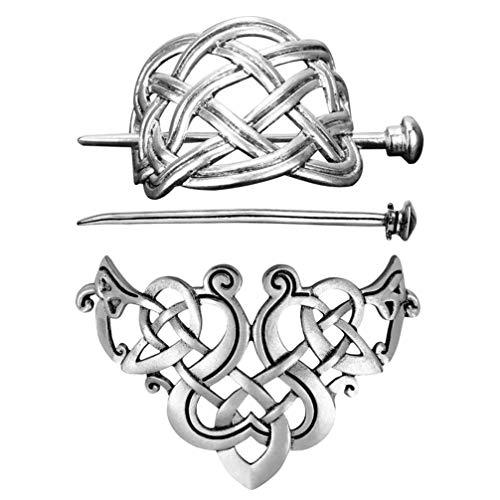 LEORX 2pcs Celtic Hair Stick Vintage Metal Hair Slide Pins Silver Knot Hair Clip Viking Hair Accessories for Women