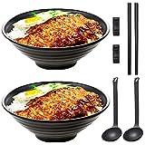 YADIMI Japonés Conjuntos de Cuencos de Ramen, 2 Juegos 1100ml Tazón de Sopa Japonés con Cuchara Palillos y Pequeño Plato para Salsa, para Fideos Pho Fideos Udon
