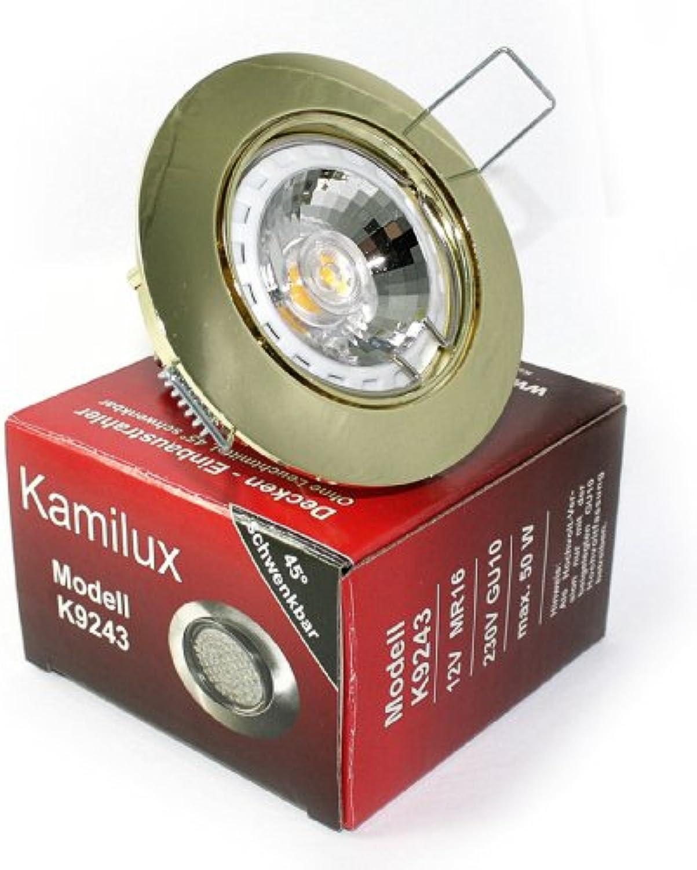 4er Set Einbaustrahler Lisa 230V GU10 IP20 Farbe Gold Lichtfarbe  Wei 3 Watt COB Glas LED = 30 Watt Leuchte