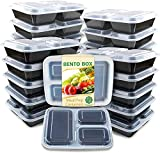 Enther Meal Prep Container 20 Pack 3 Compartments with Lids Food Storage Bento Box BPA...