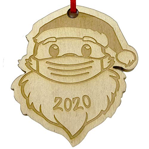 !RAKRISA Masked Santa Ornament - Engraved Cute Santa Claus Wearing Face Mask Christmas Ornament Gift for Friends & Families - Perfect 2020 Ornaments for Christmas Tree Decorations (Mask)