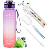 Drinking Water Bottles,Fruit Infuser Water Bottle with Straw 32oz Outdoor Sport Drinking Bottle with time marker for Kids Adults (Orange+Purple)