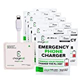 10 Pack Compatible iPhone ChargeTab, Up to 4 Hours of Worry-Free Stand-by Power per Emergency Charger, Portable On-The-Go Battery Pack, Pre-Charged W/ 2 Year Shelf Life (2900mAh Each)