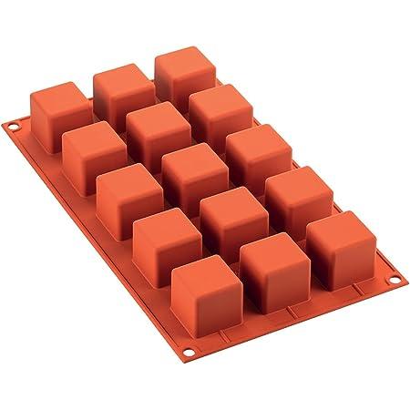 Silikomart 26.105.00.0060 SF105 Moule Forme Cube 15 Cavités Silicone Terre Cuite