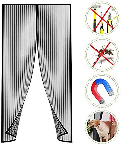 M&X Magnet Fliegengitter Tür Insektenschutz Balkontür Fliegenvorhang, Klebemontage Ohne Bohren, Der Magnetvorhang Ist Ideal Für Terrassentür, Kellertür Und Balkontür,Schwarz,100x235cm(39x93inch)