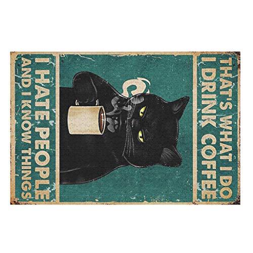 CCMugshop Lustige Puzzle Vintage Schwarz Katze trinke ich Kaffee ich Hasse Menschen, die ich Dinge weiß Druck Puzzles 500/1000 Stück Family Funny Decompression Games White 500pieces