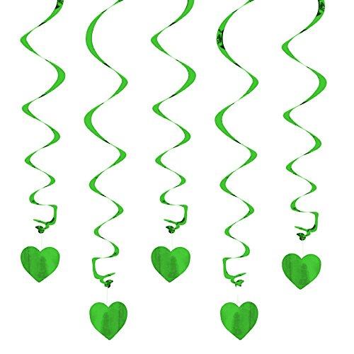 Oblique Unique® Deckenhänger Spiral Girlanden mit Herzen - Farbe wählbar (Grün)