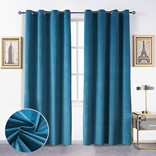 Topthumbs Lake Blue Velvet Curtains for Bedroom, W52xL108 Inches Set of 2, Treatment Grommet Light Filtering Drapes, Insulation Thermal Light Filtering Window Curtain Panels for Living Room/Outdoor