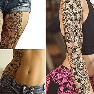 2 x Stick on Flower Roses Flora Flowers Adult Temporary Tattoo Sticker Transfer Female Body Art Transfers Women Realistic Waterproof Flora Temp Tattoo Legs Arms, Belly, Festival Full Arm Tattoo Sleeve