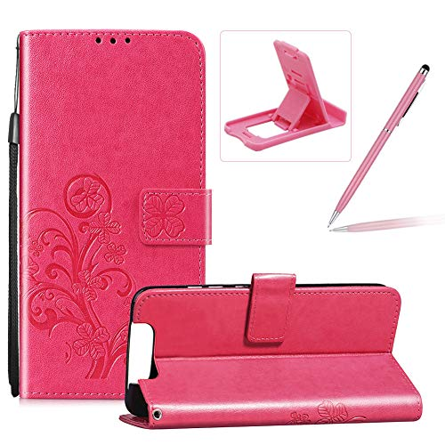 Check Out This Hot Pink Leather Case for Samsung Galaxy A80,Strap Wallet Flip Cover for Samsung Gala...