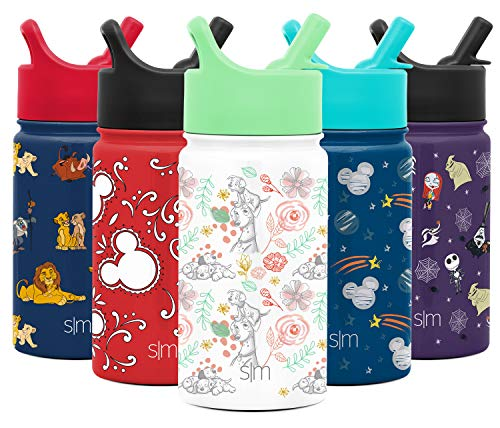 Simple Modern Disney Water Bottle for Kids Reusable Cup with Straw Sippy Lid Insulated Stainless Steel Thermos Tumbler for Toddlers Girls Boys - Discontinued, 14oz, 101 Dalmatians: Floral Dalmatian