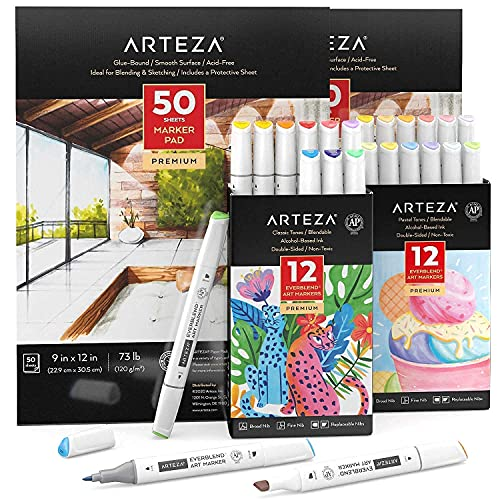 Arteza Everblend Markers, Bright and Pastel Colors Bundle with Marker Paper Pad, Drawing Art Supplies for Artist, Hobby Painters & Beginners