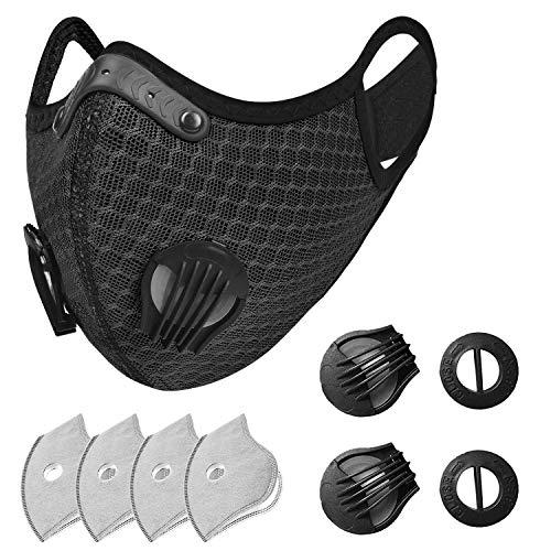 Srotek Outdoor Airsoft Radfahren Mundschutz Abdeckung 1 Stück {Äußere Schicht (waschbar) + Innere Schicht (austauschbar)} + 4 Stück Filterpads + 2 Stück Ventile