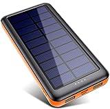 Pxwaxpy Batterie Externe Chargeur Solaire 26800mAh,【3 Entrées & 2 Sorties】 Grande Capacité Power Bank Chargeur Portable Batterie de Secours avec USB C Entrée pour Samsung Huawei iPad Tablettes