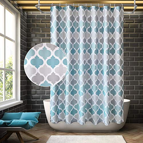 ANYEV Shower Curtain Bathroom Geometric Bath Curtain Waterproof Fabric Curtain Set with 12 Hooks Suits for Bathtub Bathing Cover, Eco-Friendly, No Odor Rust Proof Grommets, 72by72 inch Blue