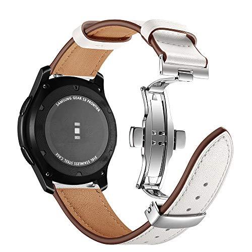 Dee Plus Hebilla de Mariposa de Pulsera de Cuero para Samsung Gear S3 22mm Piel Genuina Correa de Reloj, Hebilla de Acero Inoxidable Pulsera de Repuesto para Galaxy Watch 46mm, Huawei Watch 2 Classic