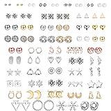 Udalyn 56 Pairs Stainless Steel Stud Earrings for Women Men Assorted Multiple Stud Earrings Pearl Moon Heart Ear Studs Geometric Cute Stud Earrings Set Silver Gold Rose Gold