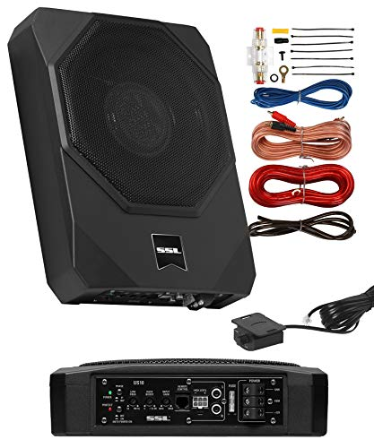 Sound Storm Laboratories US10K Amplified Car Subwoofer - 1000 Watts Max Power, Low Profile, 10 Inch Subwoofer, 8 Gauge Installation Included. Great for Vehicles That Need Bass But Have Limited Space