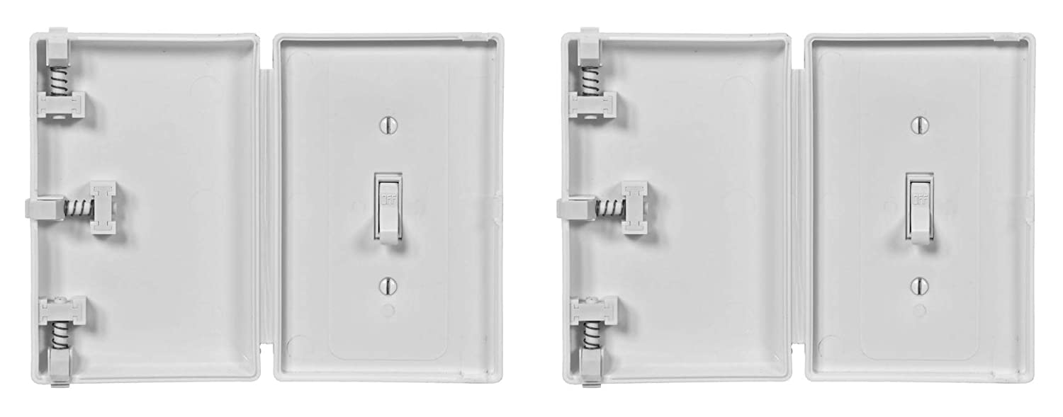 Child Be Safe, Baby Toddler Pet Resistant Electrical Safety Cover Guard for Home and Business, Made in USA, Traditional Standard Toggle Light Switch (White, 2)