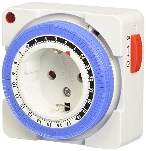 Arendo – 24h mechanische Zeitschaltuhr - 24 Hours Plug in Timer- 96 Schaltsegmente - Schieberegler für Zeitangabe - Status-Anzeige - Schaltknopf für Ein/Auto-Funktion - kompakte/einfache Bedienweise - 3680W - Kinderschutzsicherung