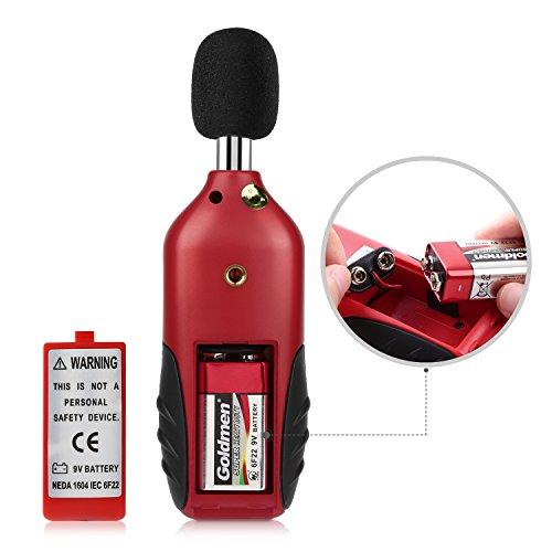 Schallpegelmessgerät, Tacklife SLM01 Klassischer Schallpegelmesser, Lärm Messgerät Datenspeicherfunktion Abschaltautomatik 40~130 dB Rot, LCD-Anzeige, Hintergrundbeleuchtung - 5