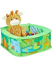 Relaxdays 10028881 Pit Baby, Zoo Play Pen z 50, kwadratowy, pop-up, HWD 29 x 80 x 80 cm, basen kulowy, zielony