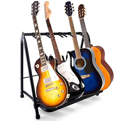 Pyle Foldable Universal Multi 5 Stand Portable Collapsible Instrument Floor Guitar Rack Holder w/Foam Padding-for Acoustic, Electric, Bass Guitar & Guitar Bag/Case PGST53