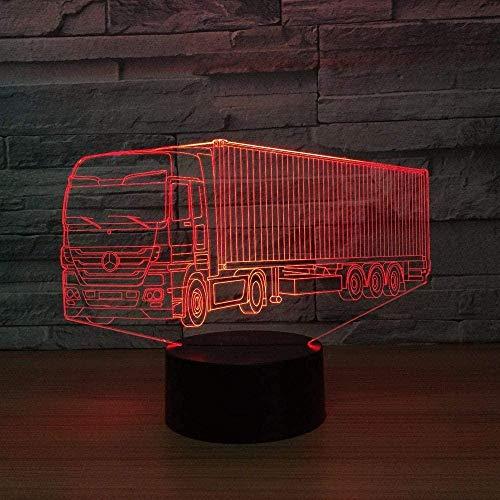 Luz de noche LED para niños Carro contenedor 3D Lámparas de ilusión óptica Lámpara de cabecera con control remoto 16 colores Cambiar lámparas de escritorio táctiles Juguetes de regalo de cumpleaño