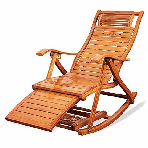 XUEQAN - Sedie da giardino pieghevoli in bambù, con schienale regolabile, per patio, spiaggia, piscina, sdraio (senza cuscino)