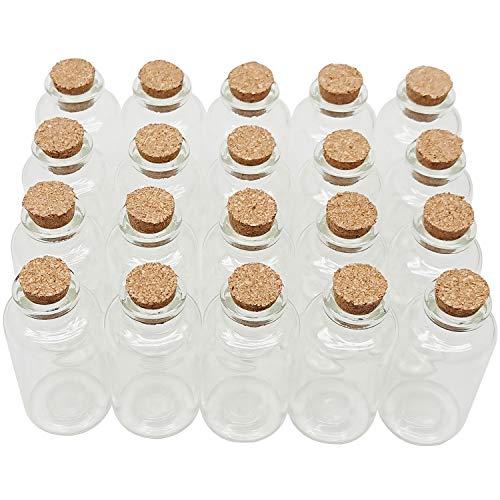 Axe Sickle 20 mL Cork Stopper Glass Bottles Mini Clear Glass Bottles 20 Pcs.