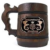 Dungeon Master Wooden Beer Mug, Dungeons & Dragons Beer Stein, Custom Beer Tankard, DM Gift for Geek, DnD Gift for Him, Groomsmen Gift