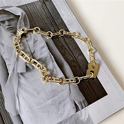 Collares, La Moda De Metal Letra B Declaración Collar Cubana Gruesa Cadena Gargantilla Collar Collar Para Mujeres Hombres Regalo Colgante Collares (Metal Color: B Color Dorado)